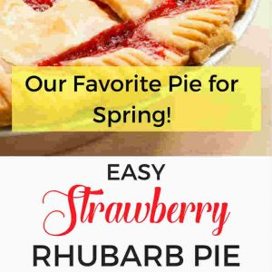 strawberry rhubarb pie side view and close up of rhubarb pie in pin