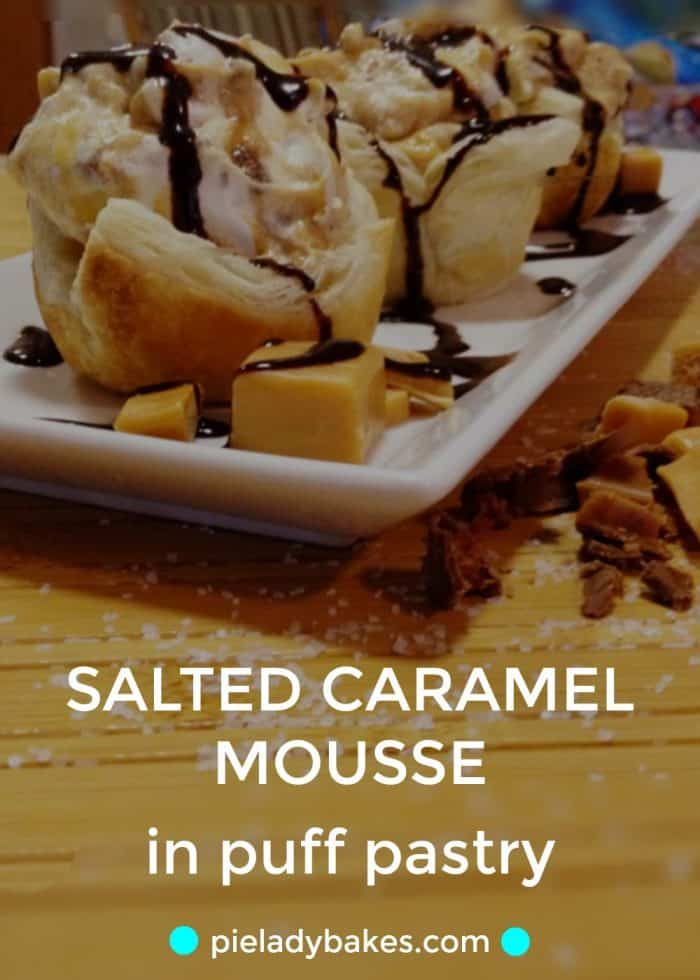 Salted Caramel Mousse in Puff Pastry, drizzled in chocolate and drowning in whipped cream is an easy and elegant dessert that you can make in minutes! #saltedcaramel, #saltedcaramelmousse, #easypuffpastrydesserts, #dessertporn
