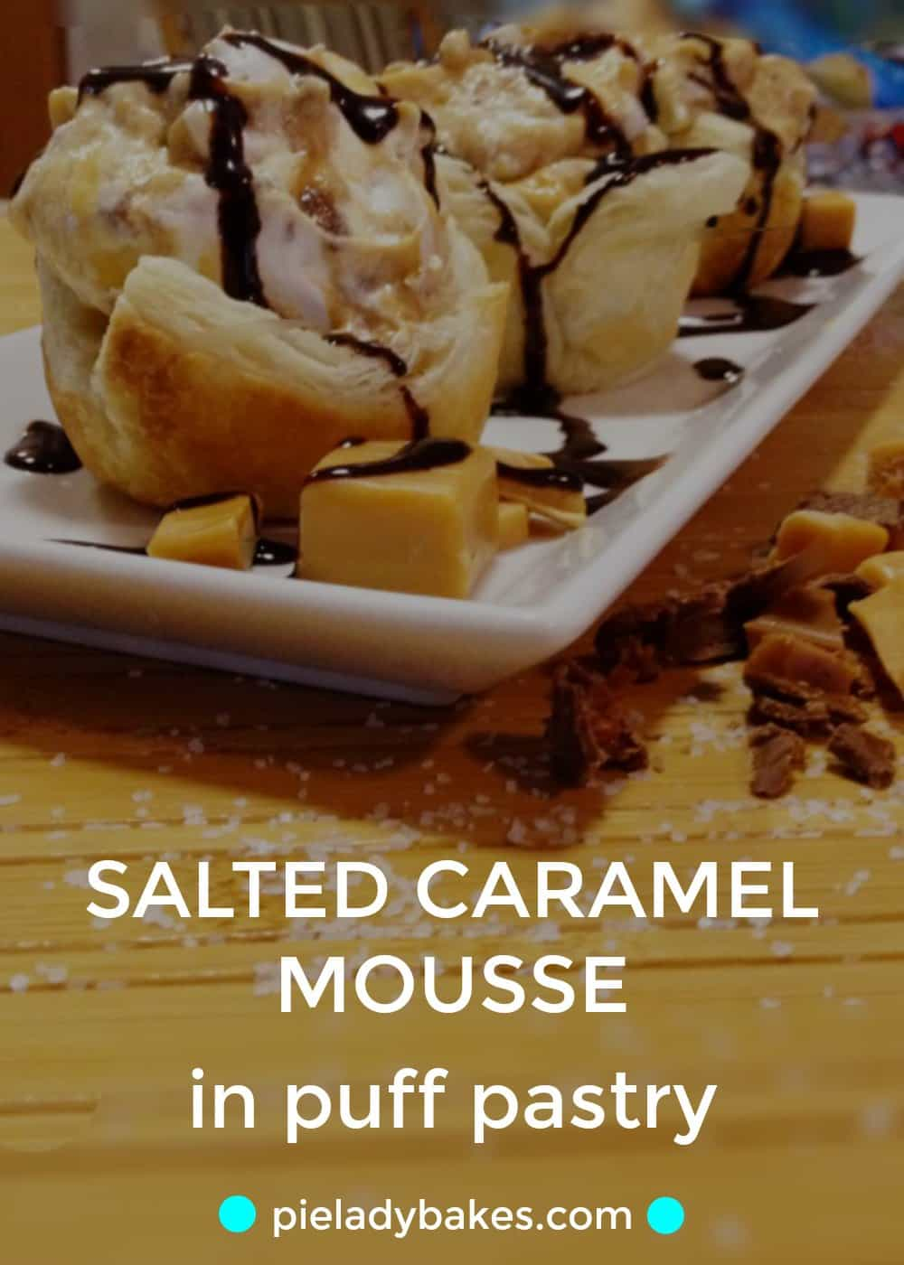 Salted caramel, chocolate and crunchy toffee in a creamy caramel mousse! This recipe is so easy to make too, uses puff pastry too!