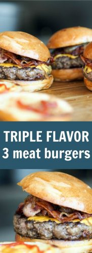 two images of grilled bacon cheeseburgers with white text triple flavor 3 meat burgers on a blue background