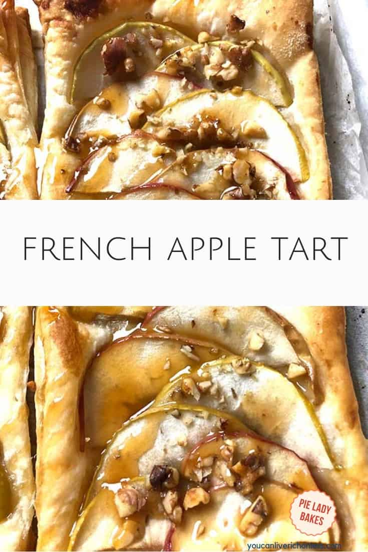 French apple tart with caramel sauce on parchment paper