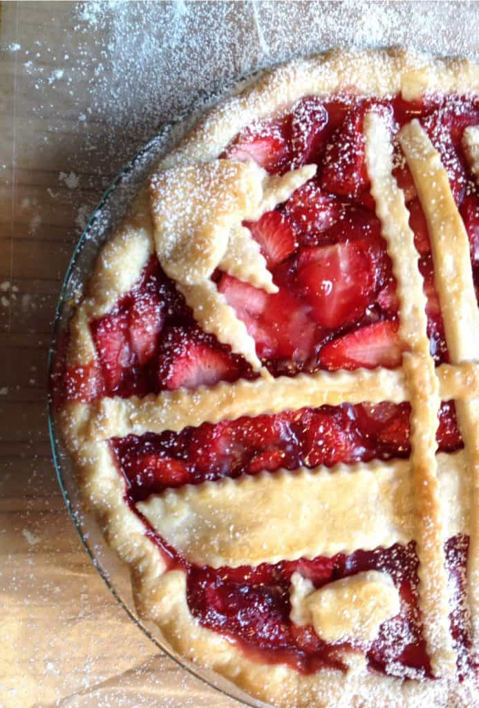 Strawberry Pie any time at all! An easy recipe, beautiful pie crust techniques and a special ingredient. Delicious anytime at all.
