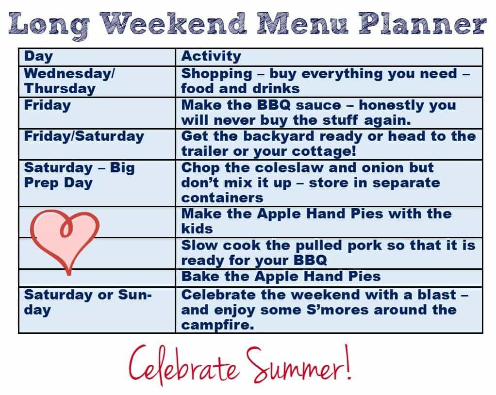 long weekend menu planner