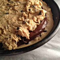 Chocolate Chip Skillet Cookie stuffed with Nutella
