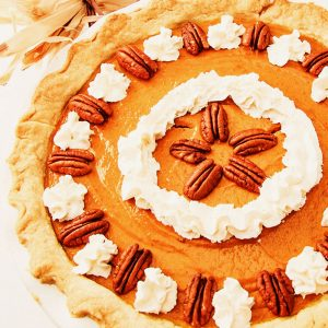 gluten free pumpkin pie, whole pie, overhead photo