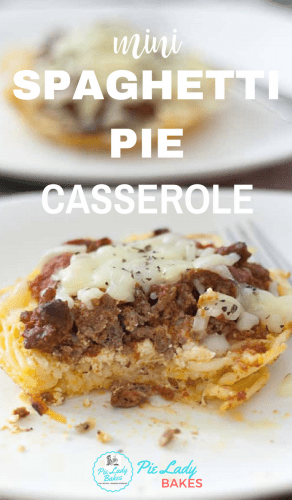 mini spaghetti pie casserole white text over an image of spaghetti pie