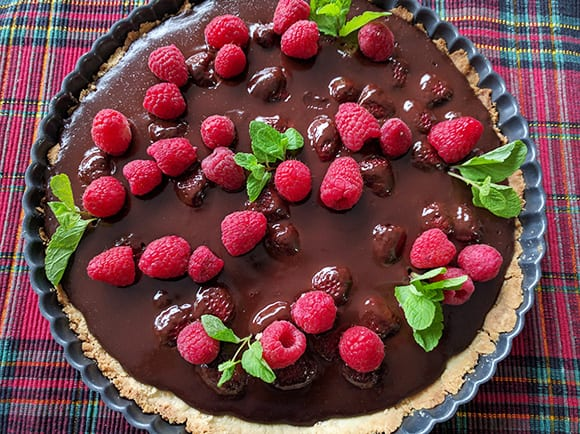 Chocolate Raspberry Tart & Sugar Cookie Crust