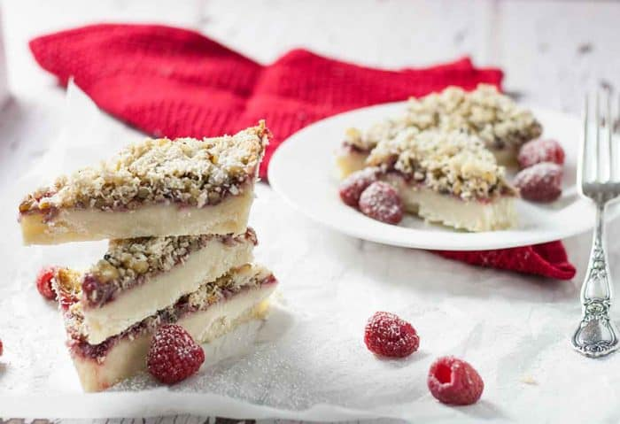 A Classic dessert, with a shortbread cookie base, smothered in real raspberry jam and covered with a sweet cookie top