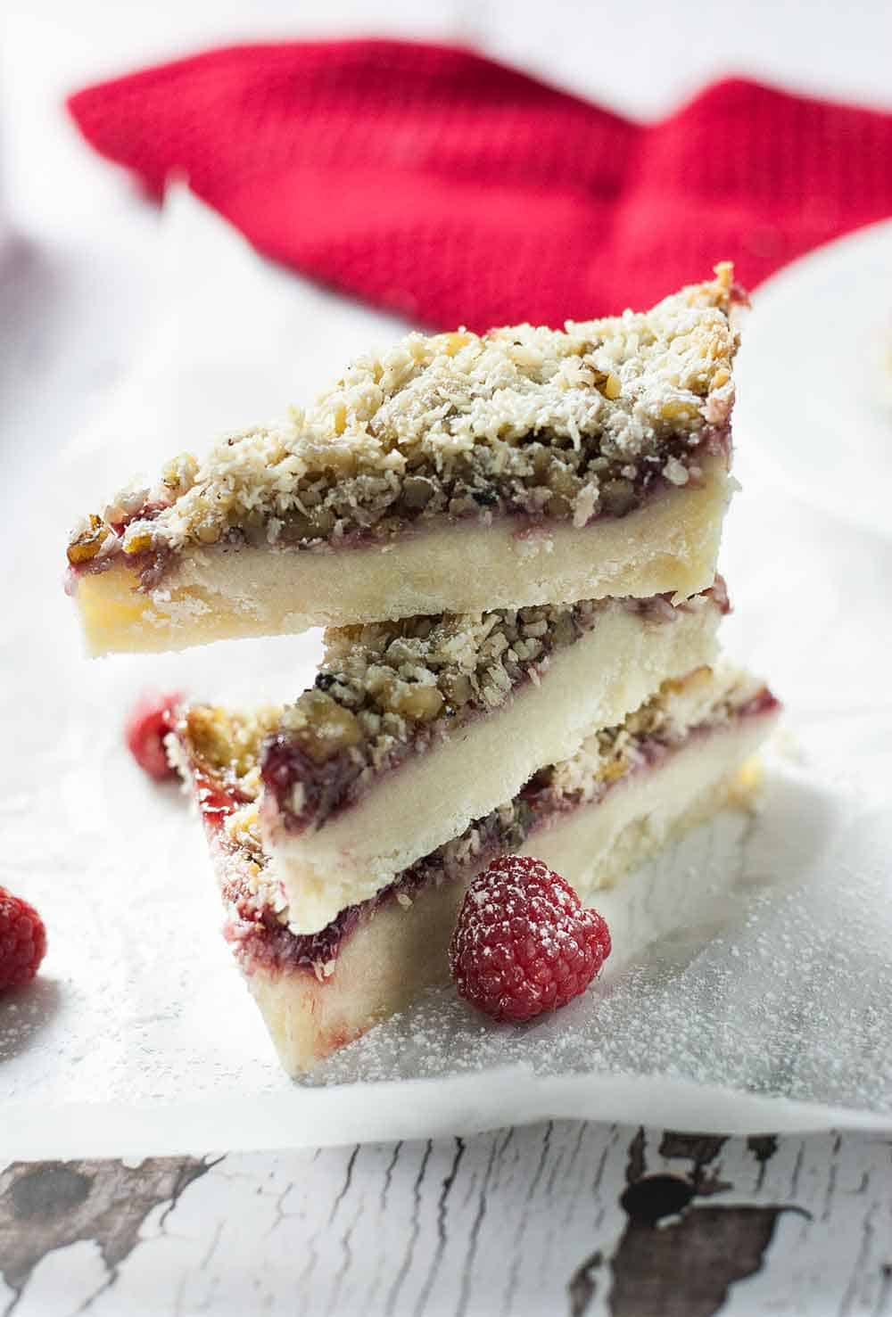 Raspberry Pie Dream Bars | Dreamy