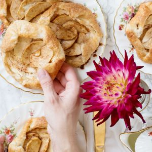 Apple Cream Cheese Galettes on plates with pink flower