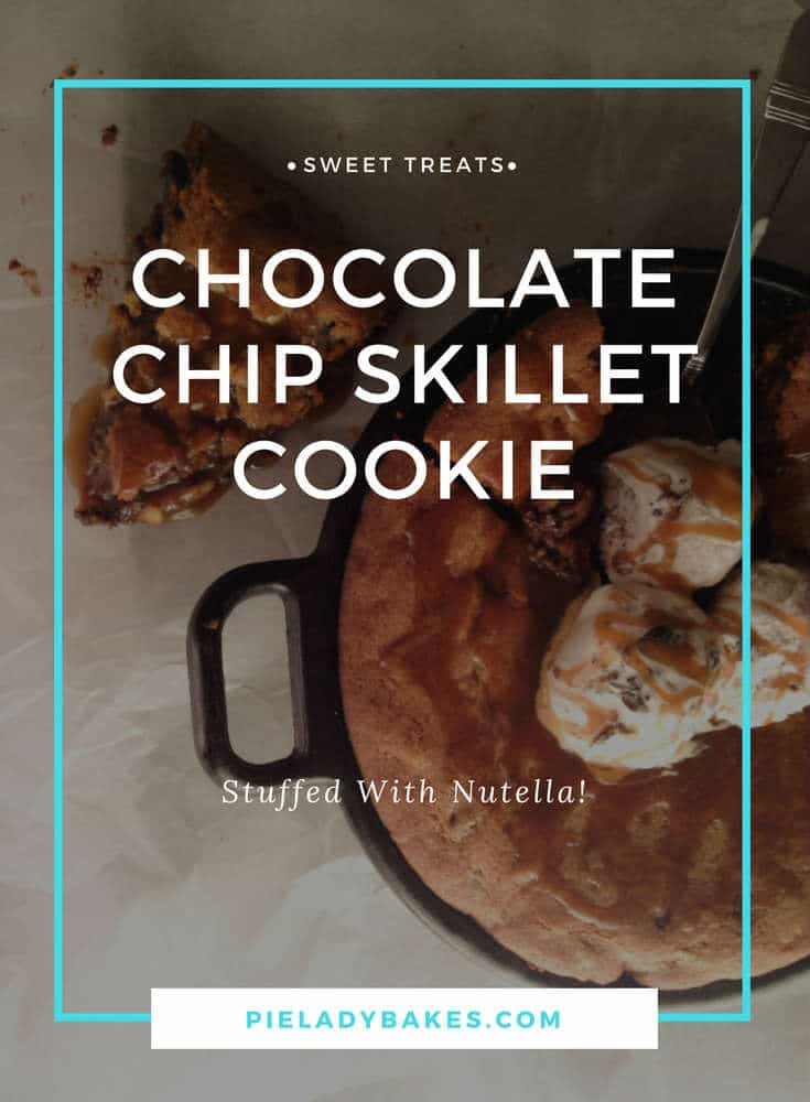 An amazing recipe that takes a chocolate chip skillet cookie, stuffs it with Nutella, slathers on Moose Tracks ice cream, & drowns it Salted Caramel Sauce. This Skillet Cookie will make every chocolate chip cookie lover swoon!