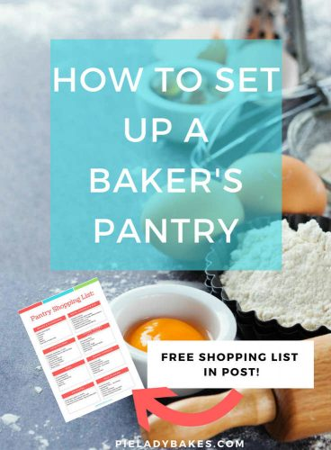how to set up a baker's pantry in white text on blue background overlay, image is of two eggs, small tart pan with flour, rolling pin and an egg yolk in a small white ramekin