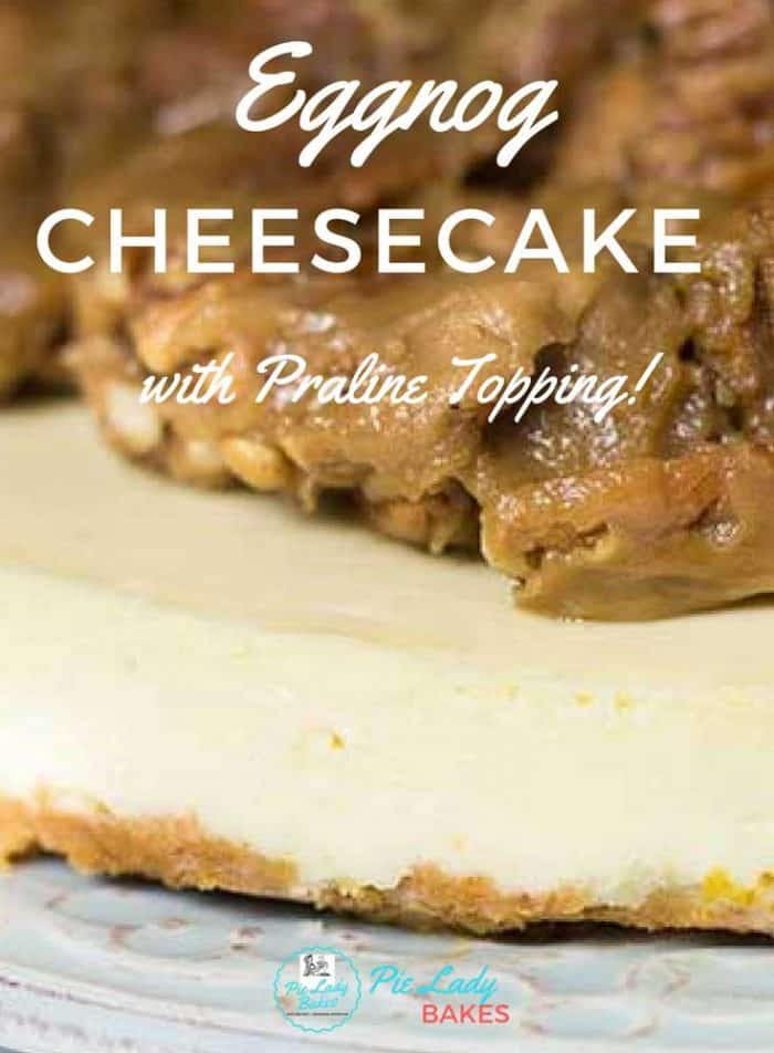 This Easy Eggnog Cheesecake Recipe is so rich and creamy - it's like having a Rum & Eggnog for Dessert! And the best part is the yummy Praline topping! Just so much goodness wrapped up like a present!