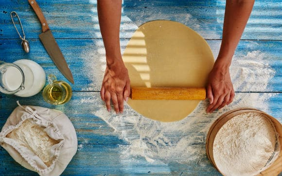 rolling out pie crust, hands, pastry and rolling pin, perfect flaky pie crust