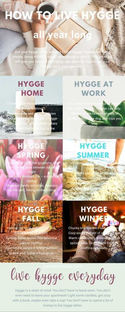 Infographic with text on top how to live hygge all year long, woman with white socks, holding coffee cup and book on a bed with shawl and white sheets, hygge home shows white candles and lavender, hygge at work shows a succulent, hygge spring with multi coloured tulips, hygge summer, shows sand castles and bare feet by the ocean, hygge fall shows an autumn country road in a forest, hygge winter, shows two pairs of feet in cozy socks in front of a fireplace.