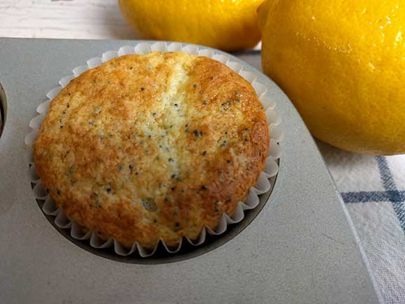 This lemon poppy seed muffin recipe makes 15 medium sized muffins.