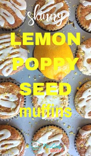 lemon poppy seed muffins yellow text overtop image of muffins with fresh lemon in a muffin pan