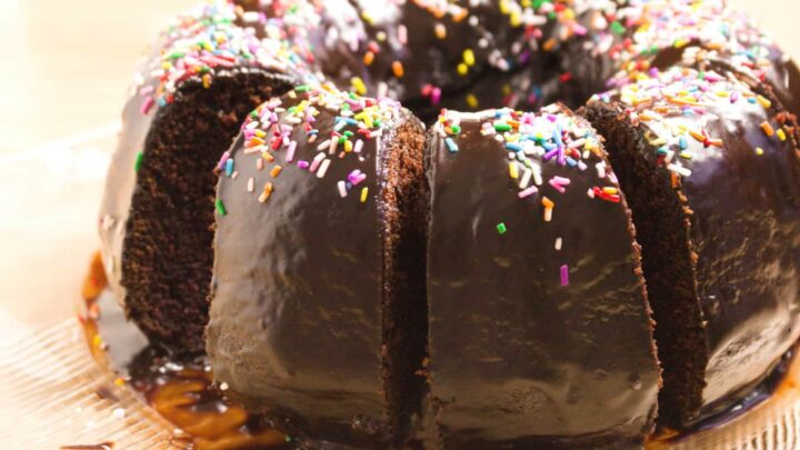 chocolate buttermilk bundt cake shown slices with sprinkles on chocolate frosting