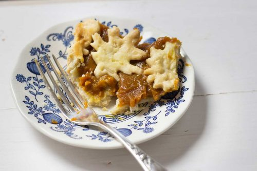 partially eaten pumpkin pie on dessert plate with fork