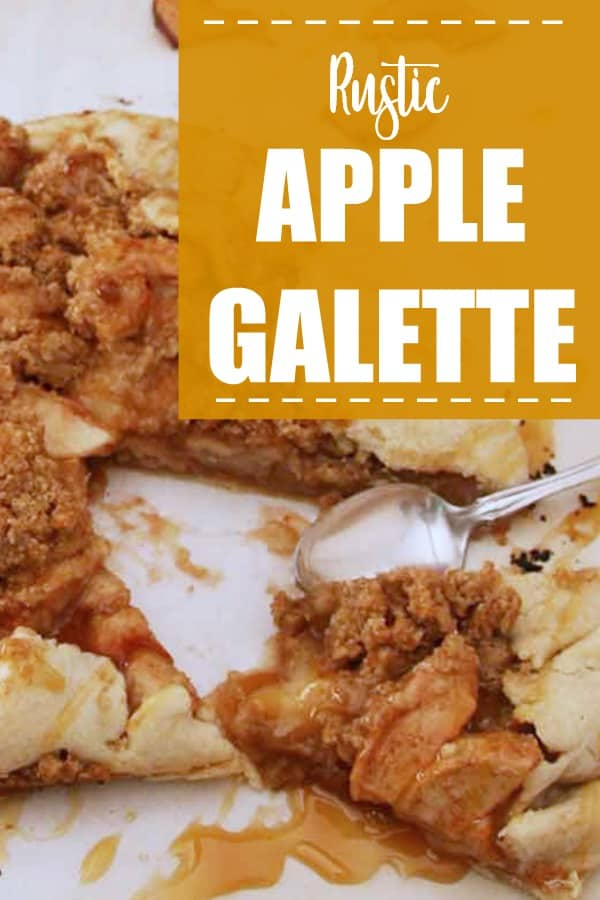 apple galette sliced with spoon