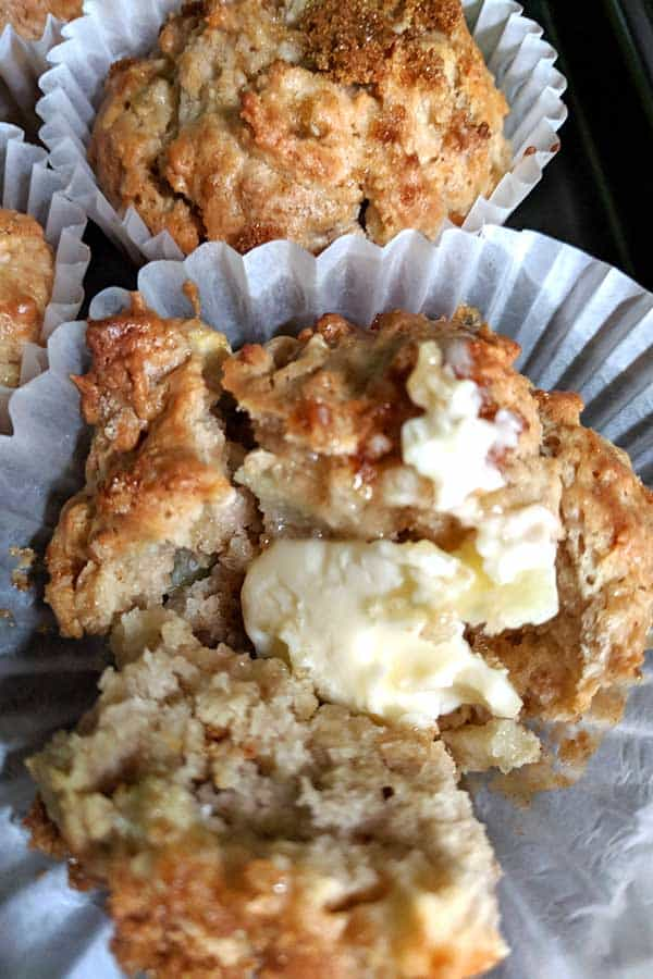 apple pie muffins freshly baked with butter!