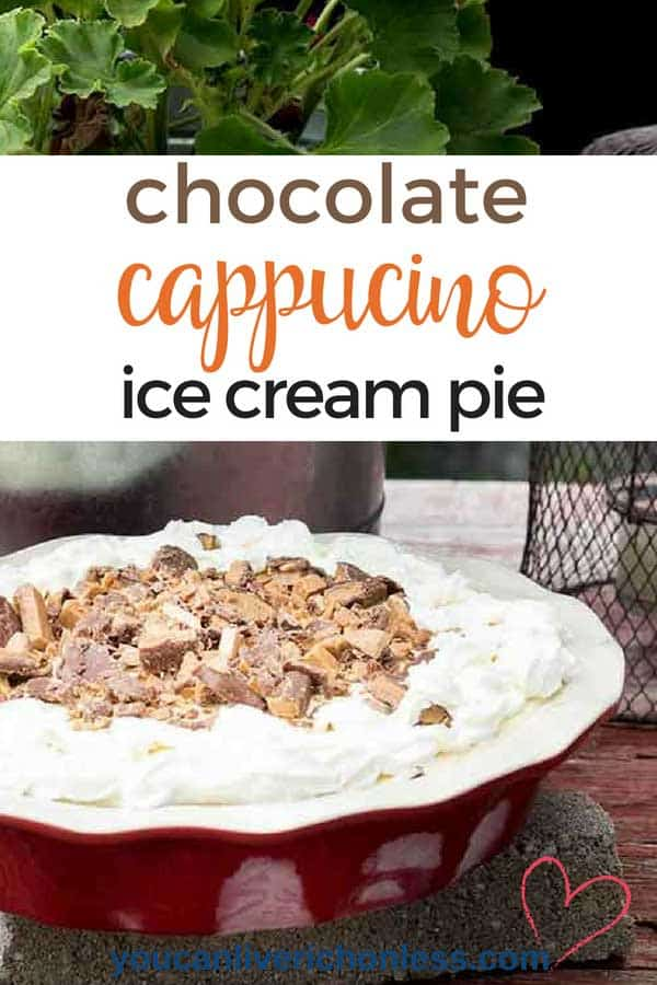 Iced Coffee and Cream Pie? An ice cream pie that tastes like an iced cappuccino and is a cool, yummy treat - one slice just won't be enough! This Iced Coffee and Cream Pie is so easy to make and is a delicious combo of chocolate, vanilla and caramel, with just a hint of coffee liqueur! #easyicedcoffeeand cream pie, #coffeeicecreampiewithoreocrust #bestmudpierecipe #coffeepuddingpie #nobakecoffeepie #coldbrewcoffee #easycoldbrewcoffeepierecipe #coffee cream #espresso pie #youcanliverichonless.com