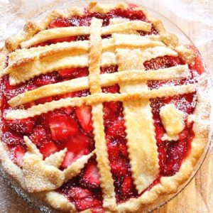 strawberry pie with decorative lattice pie crust