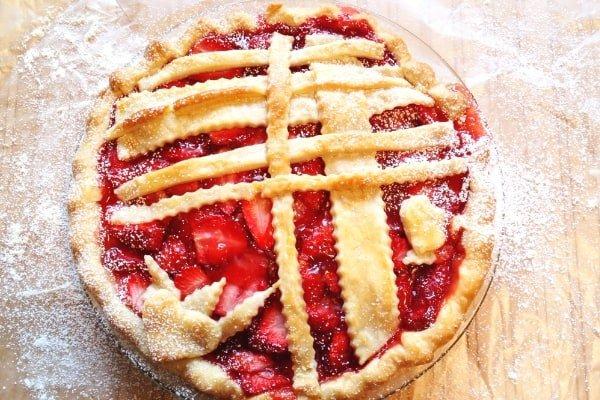 strawberry pie with decorative lattice pie crust