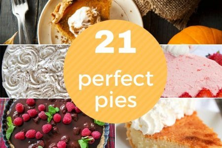 collage of five different pies including pumpkin pie, coconut cream, strawberry pie and chocolate raspberry tart