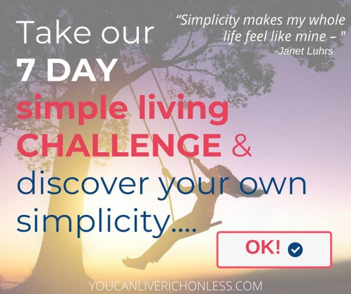 purple background image shows woman on a swing that is tied to a large tree take our 7 day simple living challenge and discover your own simplicity