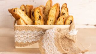 small box of cake mix biscotti with jute and white lace ribbons