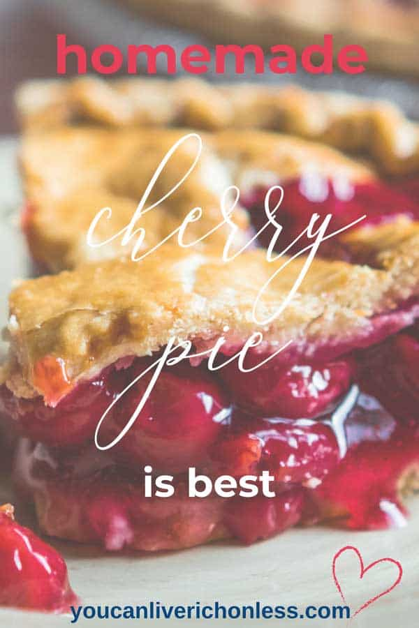Cherry pie & summer go together like well, cherry pie and summer! Am I right? That sweet juicy cherry pie filling smothered by buttery pie crust. Delicious! #pie #cherrypie #homemade #piecrust #cherry #dessert
