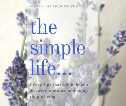 What does it mean to live a simple life? These 7 tips will guide you to simplicity & show the benefits of simple living. Includes mindfulness, journaling, technology fasts, living small, and slowing down to fully live. #simpleliving #voluntarysimplicity #mindfulness #minimalism #simplelivingtips #simplelivinglifestyle #savingmoney