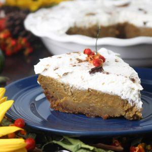 slice of kahlua pumpkin pie on blue plate