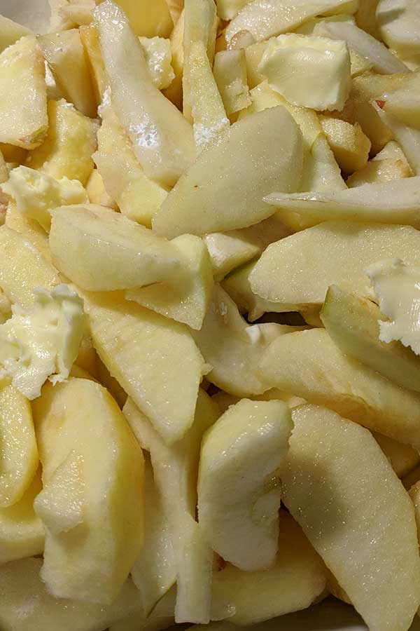 thinly sliced apples, pears and butter