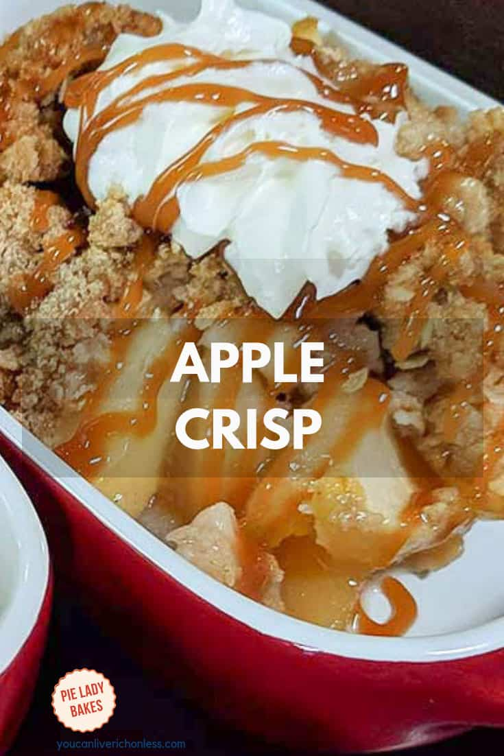 Apple Crisp is perfect anytime.  A quick and easy dessert, Mom's Delicious Apple crisp is one of the best apple dessert recipes I've made! IT'S JUST SO GOOD! #applecrisp #appledesserts #bakedapple #recipes #cozy #hyggelife
