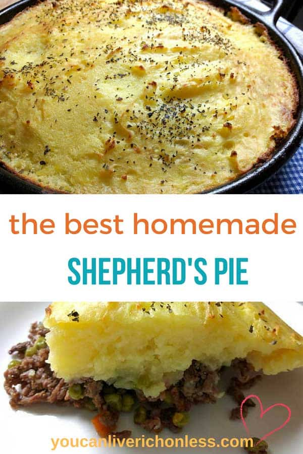 This Easy Homemade Shepherd's Pie is a favorite one pot supper recipe and combines lamb and beef with carrots and peas, and crowned with golden creamy mashed potatoes. Perfect Comfort Food that satisfies every time! #beef #lamb #yukongoldmashedpotatoes #shepherdspiegravy #onepotdinner #castironskillet