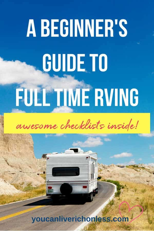 Full time RVing, is it right for you?  If you are considering downsizing from a home then this beginner's guide to RVing full time is for you!  Click through to see the FREE printables too! #RVing #simpleliving #simple #lifestyle