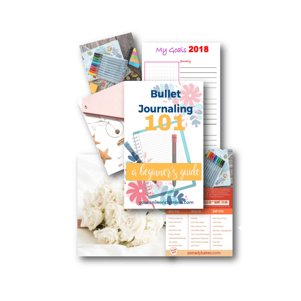 collection of free downloads bullet journal 101 guide front page, workbooks, checklists
