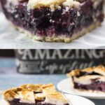 close up of razzleberry pie photo on top of another photo showing two pieces of pie on white plates with fork.