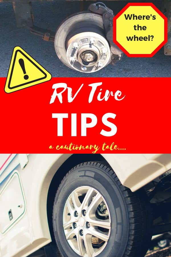 RV Tire Tips with pictures of a trailer hub without the tire, and a regular RV Tire