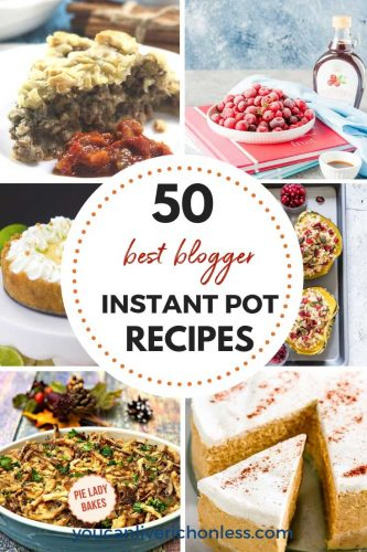 collage of instant pot recipes includes cheesecake, tourtiere, cranberries, squash and green bean casserole