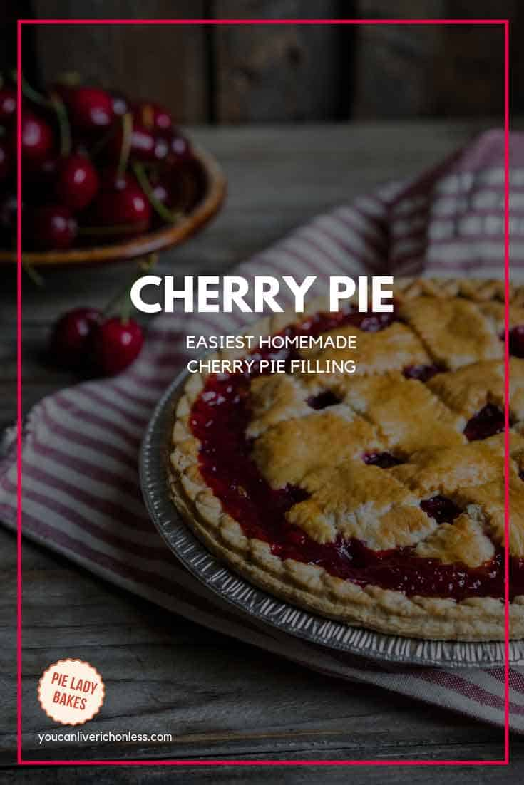 whole cherry pie with red napkin in background and bowl of cherries