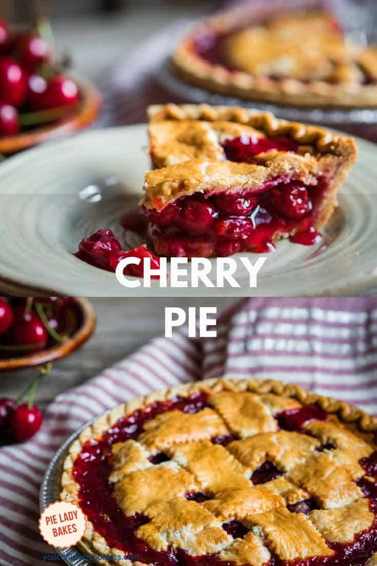 slice of cherry pie o a white plate and second photo is whole lattice cherry pie with striped red dish towel