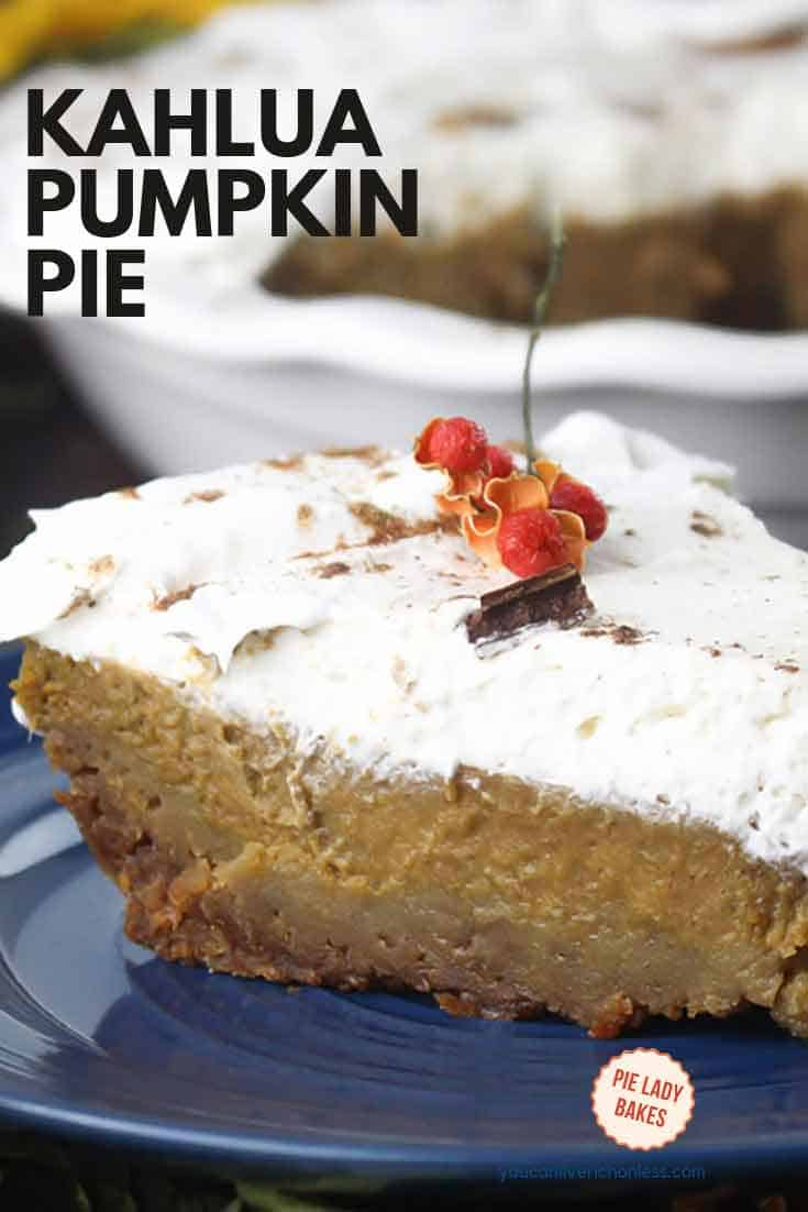 We thought you'd like a closeup view of this amazing Kahlua Pumpkin Pie. It's full of surprises like whipped cream and a scrumptious gingersnap cookie crust. And of course you know there is a shot or two or kahlua in this scrumptious pie, that is so easy to make. #kahlua #pumpkinpie #holidaydesserts #thanksgiving #whippedcream