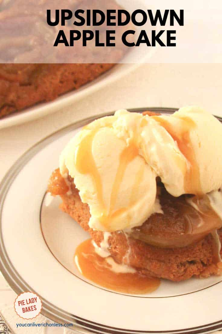 piece of upside down apple cake with vanilla ice cream and caramel sauce on white plate