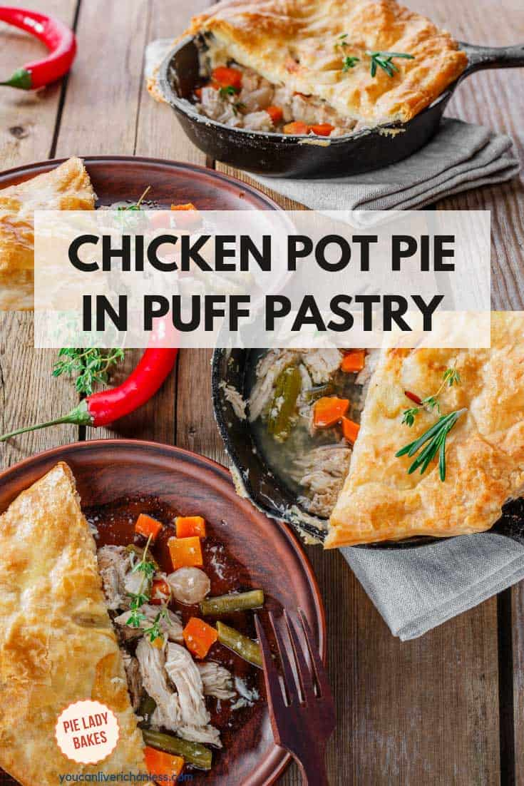 chicken pot pie in puff pastry showing serving removed from cast iron pan and a serving on a brown plate with red chili pepper
