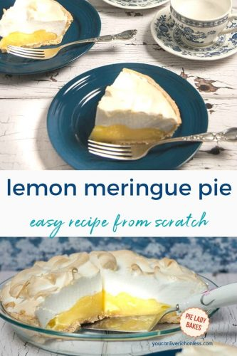 two slices of lemon meringue pie on blue plates