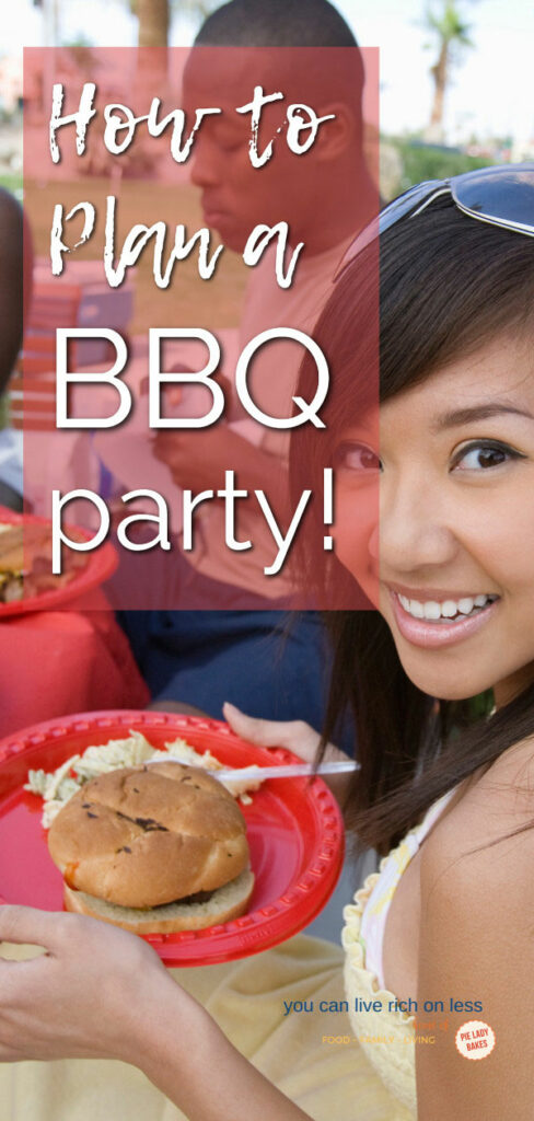 young smiling woman side view, enjoying a bbq meal outdoors with her friends, text on image is white on a red background and reads how to plan a bbq party