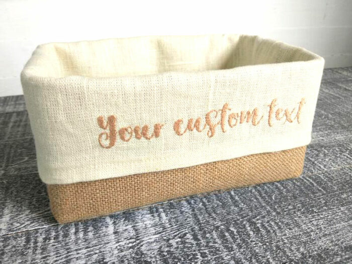"""seagrass basket with linen liner that says 'your custom text"""""""